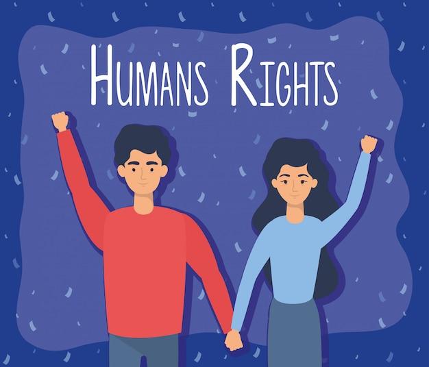 Jonge geliefden koppelen met vector illustratieontwerp mensenrechtenetiketten