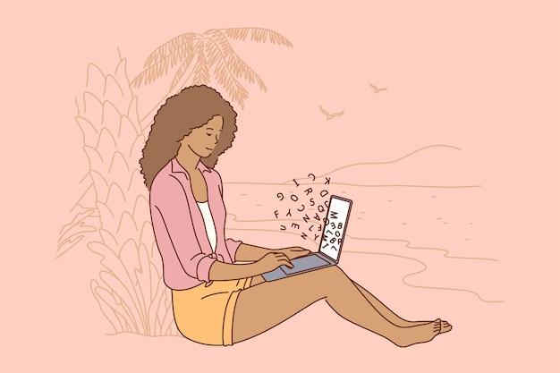 Jonge gelukkig lachend afrikaanse amerikaanse zakenvrouw meisje freelancer