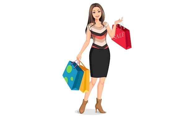 Jonge gelukkig lachende vrouw met boodschappentassen
