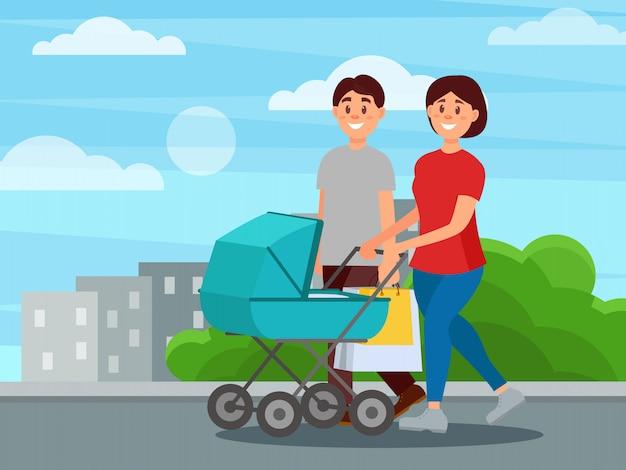 Jonge gelukkige familie wandelen door park na het winkelen. moeder duwend vervoer met baby, vader dragende pakketten. stadsgebouwen op achtergrond. kleurrijk plat ontwerp