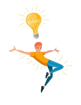 Jonge gelukkige man met opgeheven hand en springen heeft een idee gele retro gloeilamp
