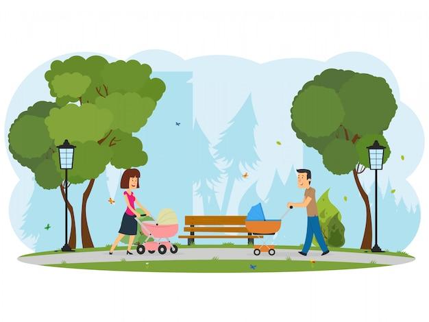 Jonge gelukkige ouders lopen met een kinderwagen in een stadspark