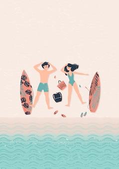 Jonge gelukkige paarman en vrouwenillustratie