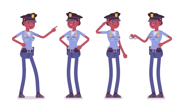 Jonge gelukkige politieagente