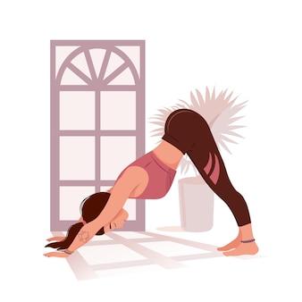 Jonge gelukkige vrouw die yoga doet of vectorillustratie uitrekt neerwaarts gerichte hond asana