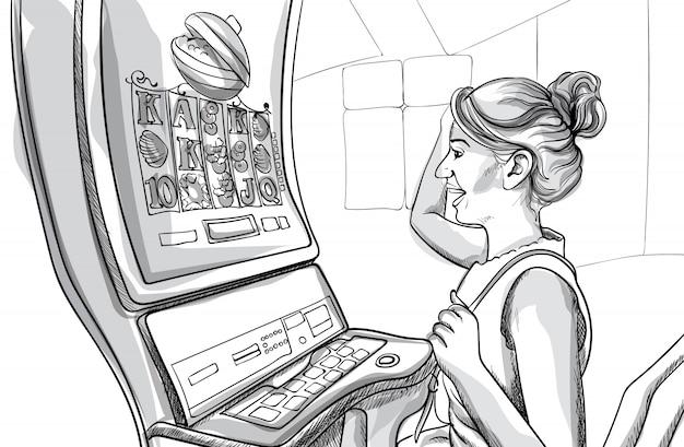 Jonge gelukkige vrouw gokautomaten in casino spelen. lijn kunst