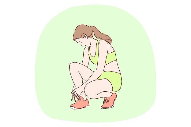 Jonge gelukkige vrouw tiener atleet cartoon karakter koppelverkoop schoenveters