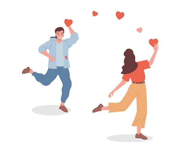 Jonge glimlachende man en vrouw die harttekens aan elkaar geven