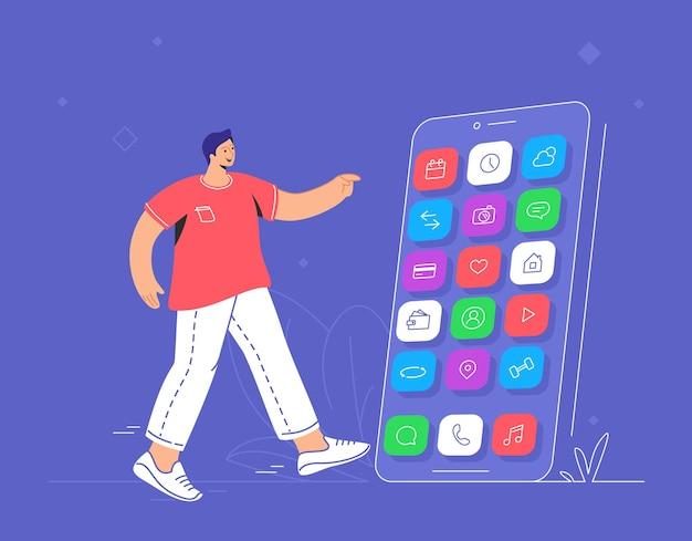 Jonge glimlachende man wijzend naar zijn grote smartphone om chat-app, sociale medianetwerken, bankieren en andere slimme mobiele apps te kiezen. platte vectorillustratie van gebruikerservaring en gebruik van mobiele apps