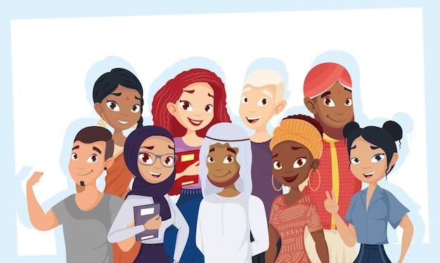 Jonge groep diversiteitskarakters