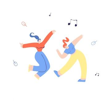 Jonge het knuppelen het dansen meisjes vlakke illustratie