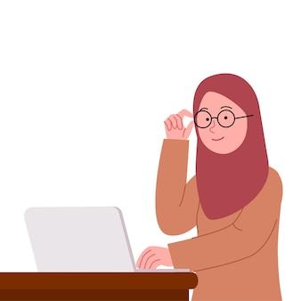 Jonge hijab-vrouw die een bril op laptop vlakke afbeelding draagt