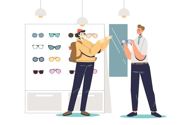 Jonge hipster man in optica winkel proberen modieuze bril illustratie