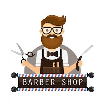 Jonge hipster man kapper. vlakke afbeelding pictogram stripfiguur. logo voor kapper. schaar en een scheermes in handen, bril, baard. geïsoleerd op wit
