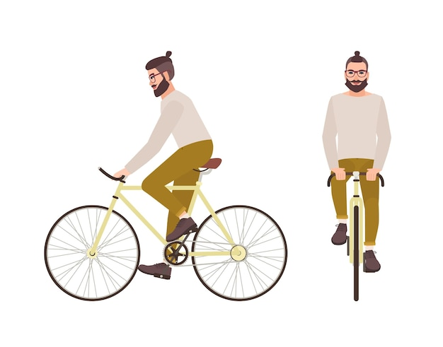 Jonge hipster man of mannelijke stripfiguur met trendy kapsel en baard fietsen. stijlvolle man trappen stadsfiets geïsoleerd op wit oppervlak