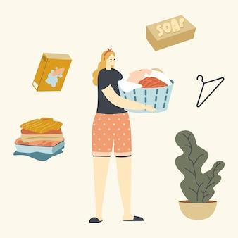 Jonge huisvrouw karakter bedrijf bekken met vuile of schone natte kleren.