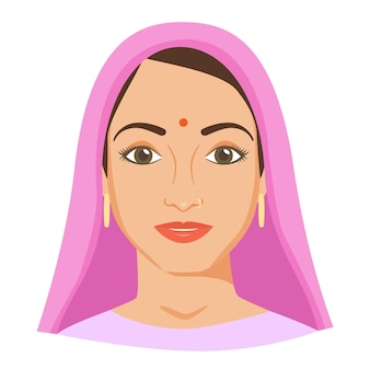 Jonge indiase vrouw gezicht met bindi en neus piercing.