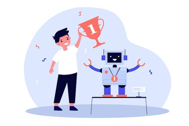 Jonge ingenieur die robot maakt en prijs wint