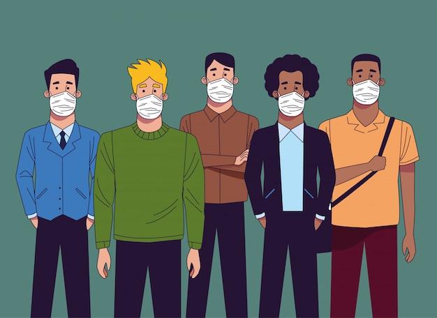 Jonge interraciale mannen met medische maskers