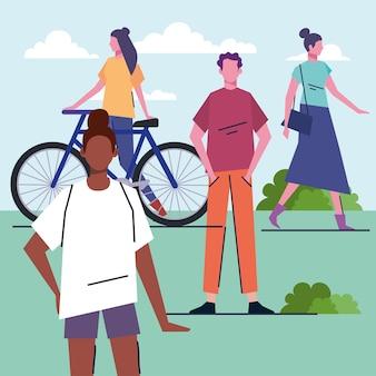 Jonge interraciale mensen in de illustratie van parkkarakters