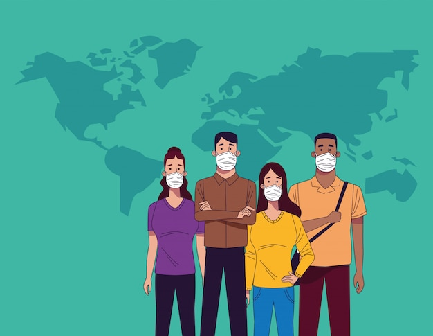 Jonge interraciale mensen met medische maskers karakters