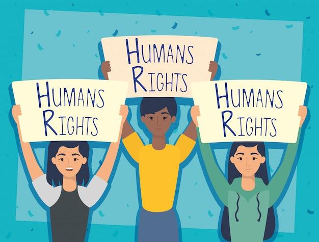 Jonge interraciale mensen met mensenrechten label vector illustratie ontwerp
