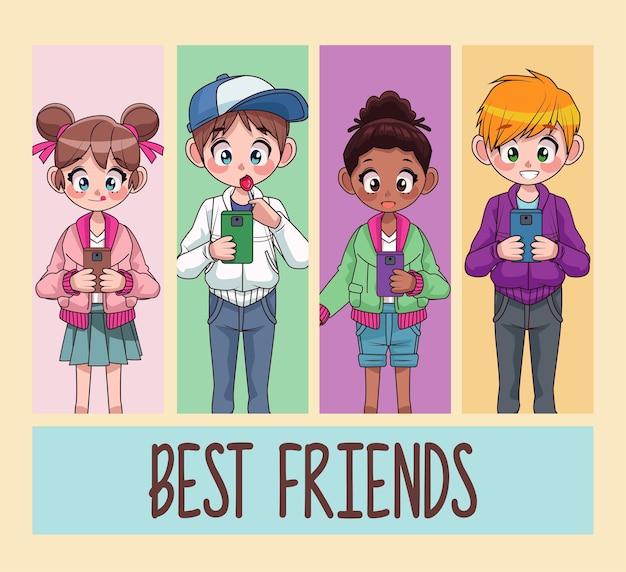 Jonge interraciale tieners kinderen beste vrienden met behulp van smartphones illustratie