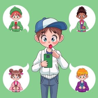 Jonge interraciale tieners kinderen met behulp van smartphones anime karakters illustratie
