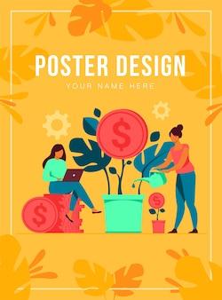 Jonge investeerders die werken voor winst, dividend of inkomsten platte vectorillustratie. cartoon werknemers investeren kapitaal