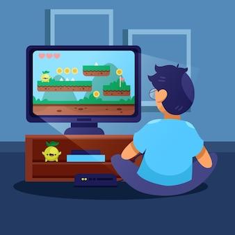 Jonge jongen die videospelletjes speelt