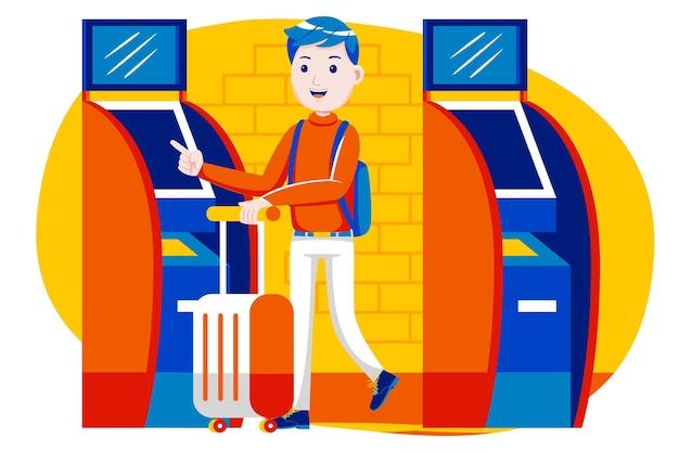 Jonge jongen die zelfkaartautomaat op luchthaven gebruikt.