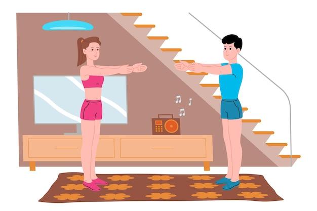 Jonge jongen en meisje doen sport, fysieke oefeningen, thuistrainingen en fitness thuis tijdens quarantaine en leiden een gezonde levensstijl. platte vectorillustratie. mannen en vrouwen gebruiken het huis als sportschool.
