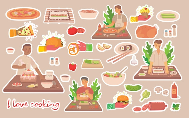 Jonge jongen en meisje koken in de keuken thuis. koken stickers vector concept. vectorillustratie in moderne platte ontwerpstijl