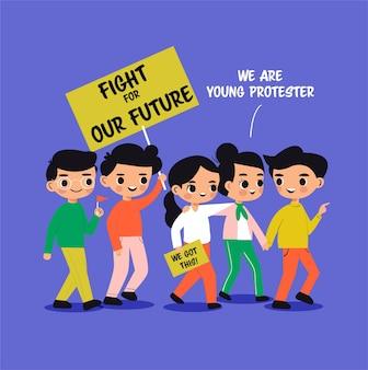 Jonge jongen en meisjesbeeldverhaal die voor hun toekomst protesteren