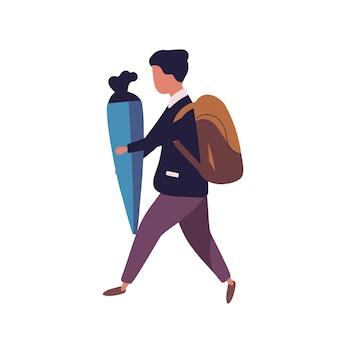 Jonge jongen gekleed in uniform loopt naar school en draagt schult te geschenk of kegel met snoepjes. schooljongen, slim kind, leerling of student geïsoleerd op een witte achtergrond. platte vectorillustratie.