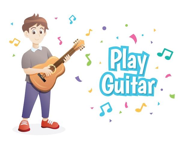 Jonge jongen gitaar spelen