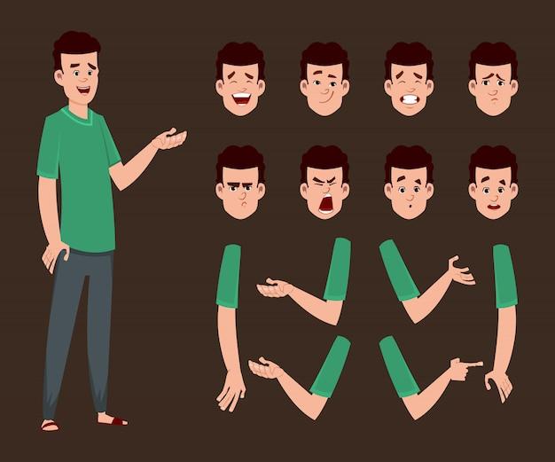 Jonge jongen karakter voor animatie of beweging met verschillende gezichtsemoties en handen.