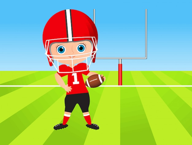 Jonge jongen. kind american football spelen.