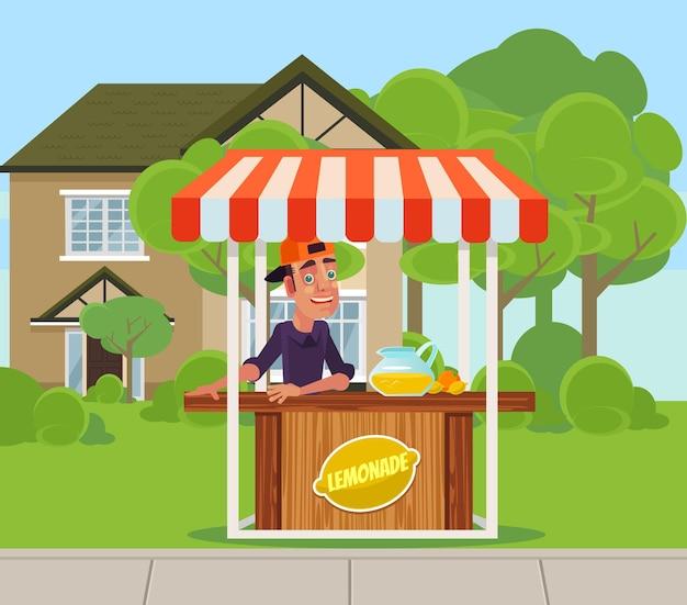 Jonge jongen man tiener karakter verkoop limonadesap op achtertuin.