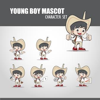 Jonge jongen mascotte illustratie