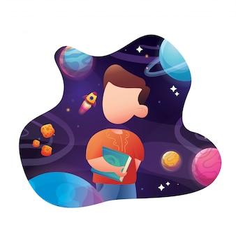 Jonge jongen met boek met 3d abstracte planeet en universum