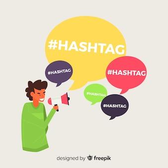 Jonge jongen met hashtagsymbool