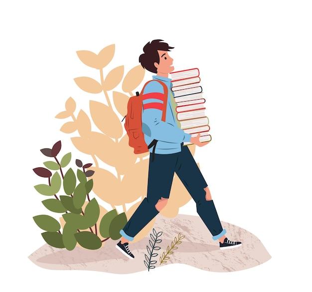 Jonge jongen met stapel boeken student studeren en voorbereiden op onderzoek boekliefhebbers lezers bibliotheek terug naar school moderne literatuur fans geïsoleerd platte cartoon vectorillustratie