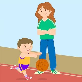 Jonge jongen plezier spelen basketbal