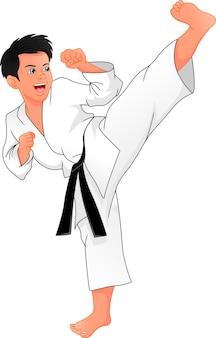 Jonge jongen speelt karate