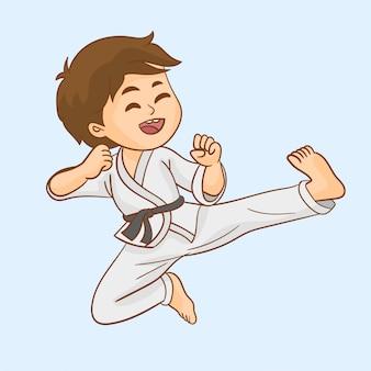 Jonge jongen training karate