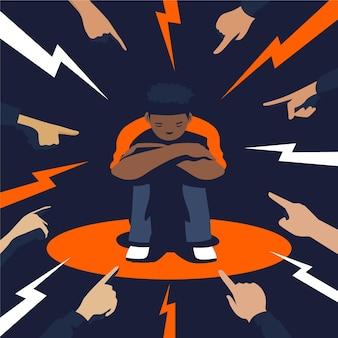 Jonge jongen wordt gediscrimineerd vanwege zijn huidskleur