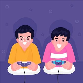 Jonge jongens die videospelletjes spelen