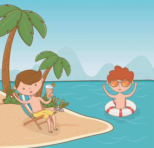 Jonge jongens op het strand tafereel