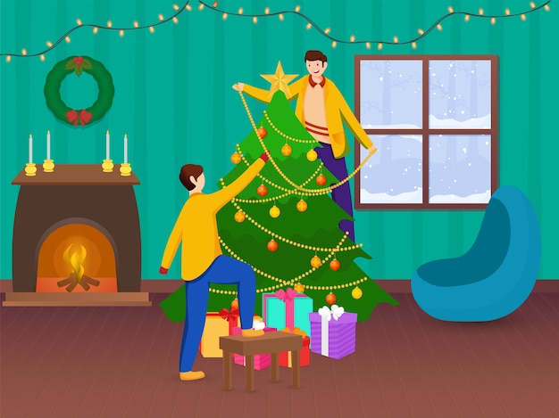 Jonge jongens versierden kerstboom samen